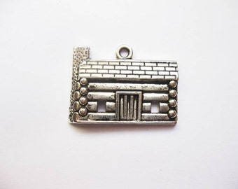 3 Log Cabin Charms in Silver Tone - C2008