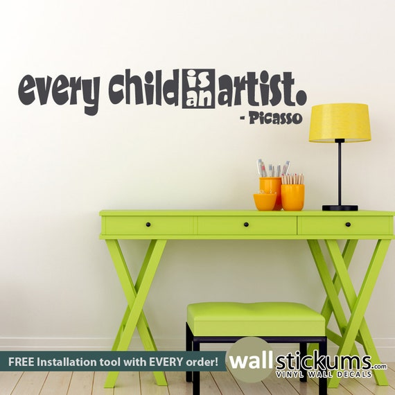 Every Child Is An Artist Picasso Vinyl Wall Art Inspirational