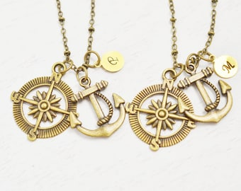 best friend, monogram jewelry, friendship necklace, stocking stuffer, anchor, compass jewelry, sailing jewelry, navy couples, bridesmaid