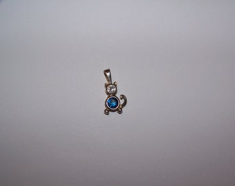 Kitty Cat Sterling Silver Charm 925 Pendant w/ Rhinestone Blue And Clear / White