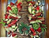 Wicker Tree Christmas Wreath