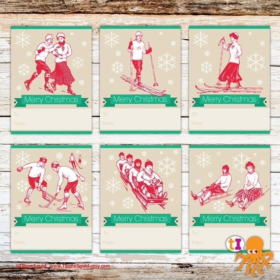 Modern Christmas Gift Tags With Vintage Winter By Tbonesquid