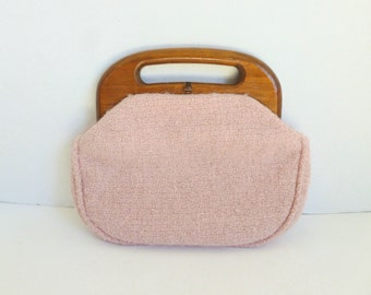 Pink Bermuda Bag Boucle Wool Tweed Purse Handbag with Wood Handles and Clasp
