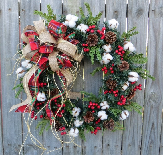 Primitive christmas holiday wreath cotton by hornshandmade