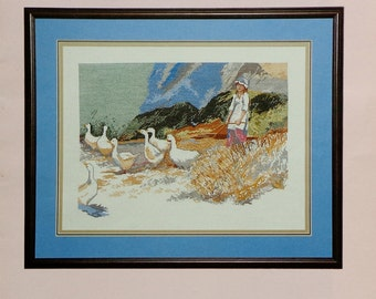 Dawna Barton GIRL WITH GEESE La Fille Des Oies Watercolor Picture - Counted Cross Stitch Pattern Chart