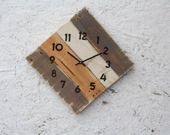 Rustic Beach Decor. Pallet Wood Clock. Geometric.  Reclaimed Wood Clock.  Neutral. Warm.