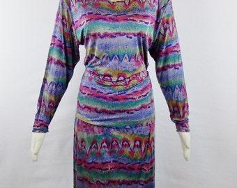 Sale VINTAGE  MISSONI IKAT Print 2 Piece Draped Top and Skinny Fit Skirt  Silk Jersey Sz 42/6