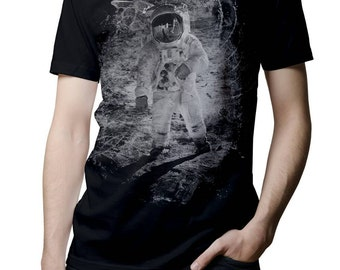 Mens TShirt - Moon Landing- Astronaut - Space Explosion Tee