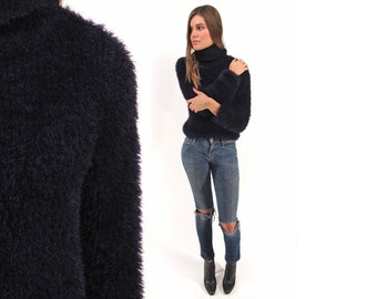 SALE - Vintage 90s Fuzzy Top, Knit Furry Fluffy Blouse, Fuzzy Sweater, Turtle-Neck, Rave Party Sweater Δ fits sizes: xs / sm / md