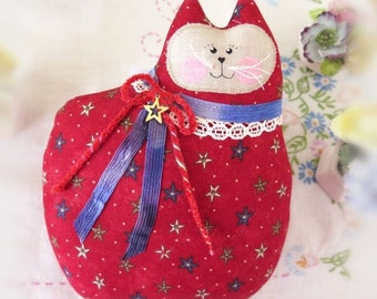 July 4th Patriotic Cat Doll Cat Pillow Cloth Doll 7 in. Cat, Dark Red, Primitive Soft Sculpture Handmade CharlotteStyle Decorative Folk Art