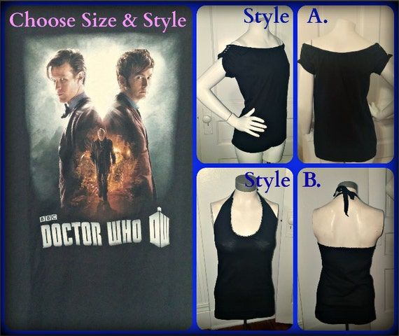 Women's Handmade Halter or Off Shoulder Top Made from Doctor Who Tee Shirt Choose Size & Style