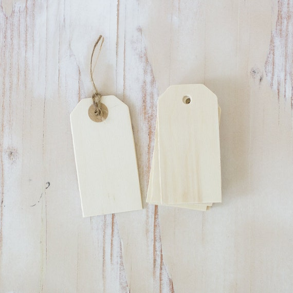 "Wood Small Gift Tags with Twine - 8 pc - 1.625"" x 3.25"""