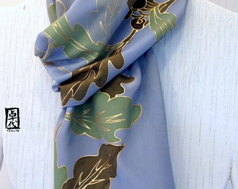 Mens Silk Scarf Handpainted, ETSY, Gift Boxed, Japanese Blue Gray Golden Oak Leaves Scarf, Gifts for men. Silk Scarves Takuyo, 14x72 inches.