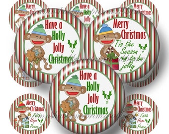 Christmas, Sock Monkey, Bottle Cap Images, Digital Collage Sheet, 1 Inch Circles (No.1) Cupcake Toppers, Pendant Tray Images, Bottle Caps