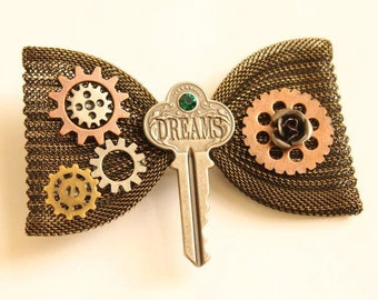 CUSTOM OOAK Steampunk Cosplay Brass Chainmaille Metal Mesh Hair Bow French Barrette Clip
