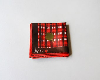 Vintage Vera Neumann Scarf - Ochre Leaves / Red Plaid