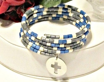 Wood Bead Wrap Memory Wire Bracelet with Cross Charm - Blue, Grey, Ivory - Gifts for Her - Gifts Under 25 - Christian Gifts