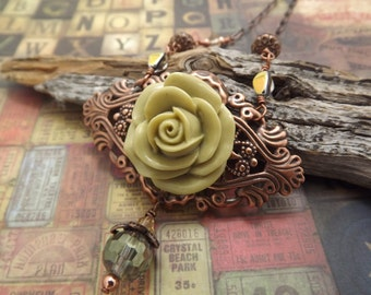 Victorian Green Carnation on Filiegree Necklace