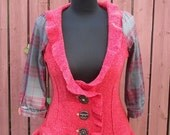 Steampunk Red Wool Cardigan with Plaid Sleeves & Vintage Wood Buttons - Upcycled - Junk Gypsy - Small