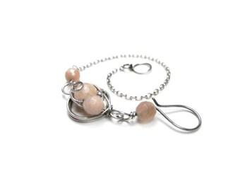 Sterling silver bracelet, powder pink bracelet, Sunstone bracelet, minimalist, bracelet for her in pastel pink