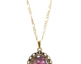 Vintage Flower Fairy Tea Party Fairy Tale Antique Bronze Necklace