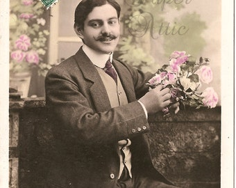 Antique French Photo Postcard Handsome Edwardian Man with Mustache & Pink Flowers Old Original Post Card from Vintage Paper Attic