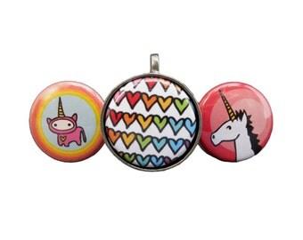 Magnetic Unicorn Necklace Set - Set of Three Unicorn Pendants - Heart Pendant