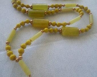 "ID Lanyard, Name-tag Holder, Natural stone beads. 32"""