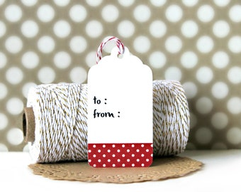 Washi Tape Tags (Set of 10) - Gift Tags, Heart Tags, Gift Wrapping, Gift Wrap, Packaging, Love, Wedding, Hearts, Polka Dots