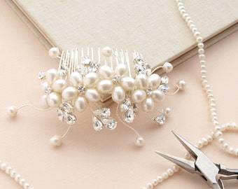 Dew Pearl Hair Comb Flower Hair Accessories Ivory Pearl Bridal Hair Comb Swarovski Rhinestones Wedding Headdress Bridesmaid Etsy UK Vintage