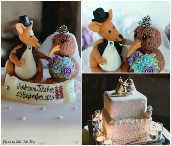 wedding cake toppers new zealand kangaroo groom and kiwi cake topper by perlillapets 26552