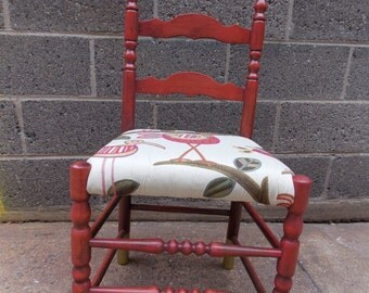 Custom Order Only - Red Wooden Farmhouse Chic Chair