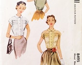 "Vintage 1951 McCall's Misses' Blouse Pattern 8495 Size 14 (32"" Bust)"