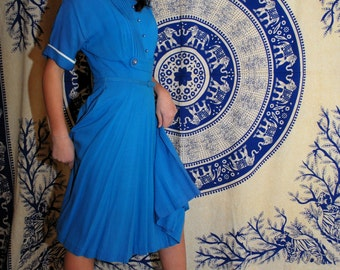 Darling Oasis Dreamer 1950s Vintage Moonlight Blue Pleated Day Dress With White Collar And Full Circle Skirt Sz Small