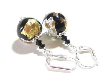 Murano Glass Black Gold Silver Ball Earrings, Venetian Earrings, Italian Jewelry, Dangle Clip Ons, Sterling Silver Leverback Earrings