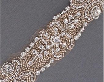 Blush, Champagne Beaded, Crystal Bridal Belt, Swarovski Crystal Wedding Sash, Hand Beaded, Designer Embellishment- CUSTOM ORDER