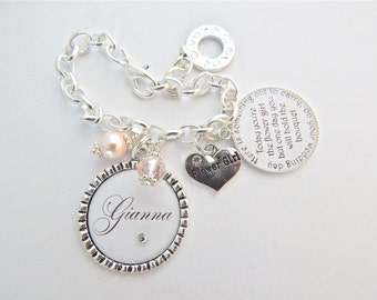 FLOWER GIRL Bracelet Children Jewelry Personalized Wedding Blush Pink Charm Bracelet Junior Bridesmaid Gift Childrens Gift Wedding Jewelry