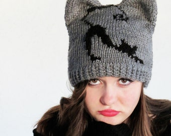 Knit Cat Ear Hat, Cat Ear Beanie, Gray Cat Hats, Chunky Knit Cat Hat, Winter Accessories, Holiday Fashion, Winter Hat, Black Cat Woman, Cute