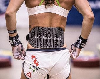 SMALL Weightlifting Belt in Black Tribal Print - UDB016S