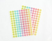 Mini Circle Stickers, Round Stickers, Pastel/Colorful/Multicolor Paper Stickers, Size 12mm or 1/2 inch, Set of 2 sheets or 216 stickers