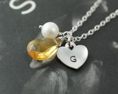 Citrine necklace, gemstone necklace, stamped jewelry, bridesmaids gift, small heart , mothers necklace, jewelry gift