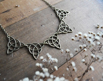 CELTIC PENNANT bronze triangle celtic knot necklace