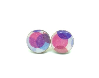 Purple and Blue Stud Earrings, Confetti, Spots, Japanese Washi, MT Washi Tape, Resin, Decoupage, Lasercut Wood, Gift under 10
