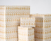 Pine Tree Gift Wrap / Gold on White / 3 Sheets