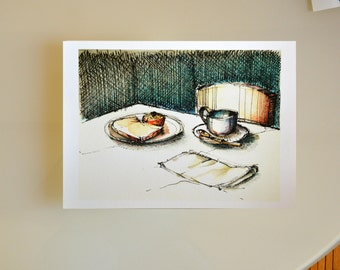 Fine art Print from original drawing-Lunch time-illustration/home/breakfast/kitchen/ pencil color/watercolor print by Cristina Ripper