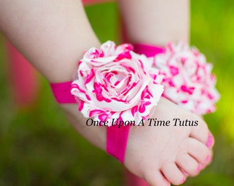 Hot Pink Heart Print Shabby Flower Barefoot Sandals - Great For All Ages - Newborn Baby Shower Gift - Summer Infant Toddler Shoes
