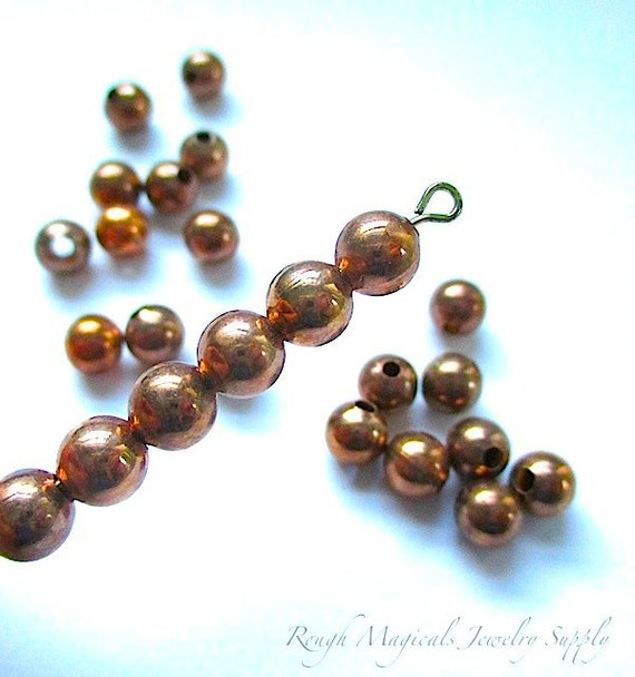 Oxidized Copper Plated Beads 6mm Rounds Antique Bronze - 25 Pieces