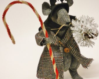 Victorian Christmas Mouse - Made To Order, Primitive Mouse, Christmas Decorations