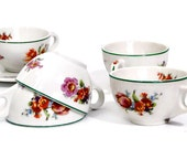 Syracuse China Cups Floral / Set of Six Retro Vintage Teacups Coffee // One Saucer // Cottage Chic Kitchen // Kitsch Dining circa 1950s