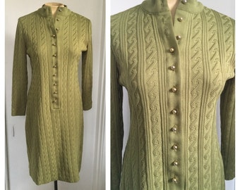 olive green pointelle knit sweater dress / 1970's vintage
